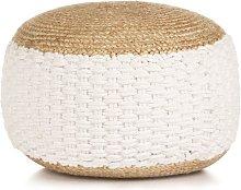Puf tejido de yute y algodón 50x35 cm blanco -