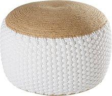 Puf trenzado de yute y algodón blanco 30x60 cm