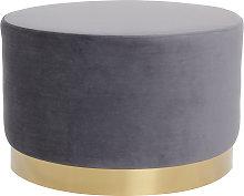 Puff redondo en terciopelo gris y metal dorado 54