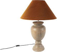 QAZQA rústico Lámpara de mesa rústica madera