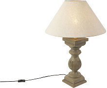 QAZQA rústico Lámpara de mesa rústica pantalla