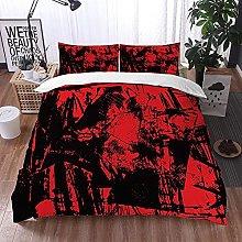 Qinniii Bedsure Funda Nórdica,Rojo Negro Ruido