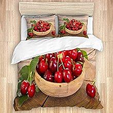 Qinniii Cubierta de edredón, vajilla de Frutas y