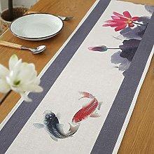 QMZ Camino de Mesa Lino Tinta clásica Lotus Fish