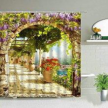 QUNMTP Cortina de la Ducha Planta Flor Mariposa