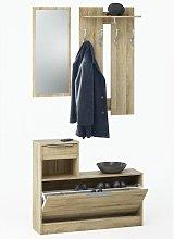 Recibidor vestidor con zapatero abatible y espejo.