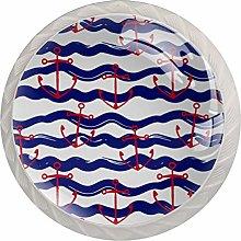 Red Ship Anchor Blue Wave StripesRound Glass Knob