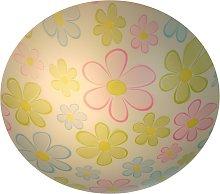 Redonda lámpara de techo infantil Flores coloridas