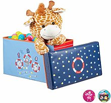 Relaxdays Baúl para juguetes, Taburete infantil,