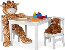 Relaxdays - Mesa infantil con dos sillas,