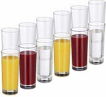 Relaxdays Set de 12 vasos largos, Cristalería