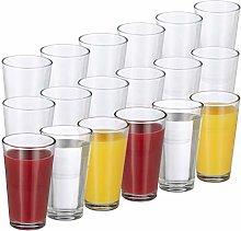 Relaxdays Set de 18 vasos, Juego de cristalería,