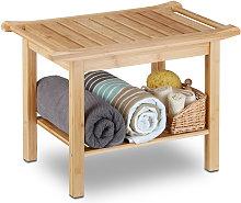 Relaxdays - Taburete Baño con Balda, Bambú,