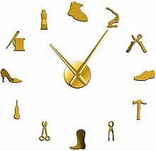 Reloj de pared, tienda de zapatos, herramienta de