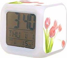 Reloj despertador digital con diseño de tulipán
