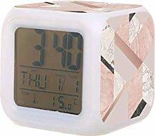 Reloj despertador digital GEOMÉTRICO de mármol,