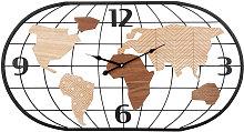 Reloj mapamundi de metal negro y marrón 81x44