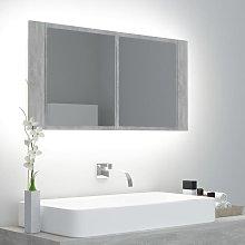 Rogal armario espejo baño luz led cemento gris