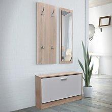 Rogal muebles de entradita con zapatero madera 3