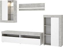 Salón TV con vitrina y leds -Cemento / Blanco-