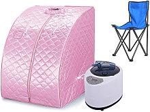 Sauna de vapor portátil interior plegable rosa