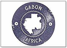 Sello vintage de mapa de Gabón. Imán para nevera