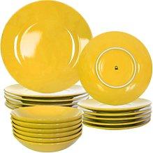 Set 18Pcs Vajilla Loza Amarilla Casa Benetton