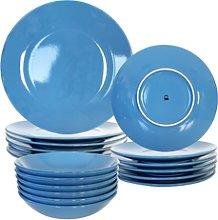 Set 18Pcs Vajilla Loza Azul Casa Benetton