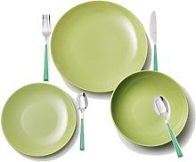 Set 6 Servicios: 18Pcs Vajilla Loza Color Verde Y