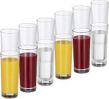 Set de 12 vasos largos, Cristalería para