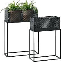 Set de 2 x Soportes de Flores Honnelles - con Macetero - Estantes para plantas - Estilo decorativo - Accesorio Hogar - Metal - Negro