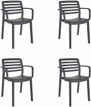 set de 4 sillas con brazos de diseño Wind para