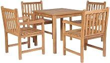 Set de comedor exterior 5 piezas de madera maciza