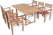 Set de comedor exterior 7 piezas de madera maciza