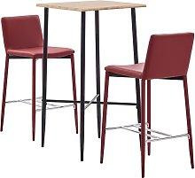 Set de mesa alta y taburetes 3 pzas cuero