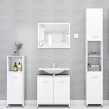 Set de muebles de bano 4 piezas aglomerado blanco