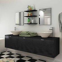Set muebles para bano con lavabo y grifo 10 uds