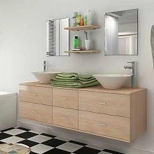 Set muebles para bano con lavabo y grifos 9 uds