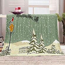 SHOMEY Manta de Franela Escena de Nieve 180x220 cm
