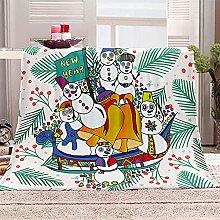 SHOMEY Manta de Franela Monigote de Nieve 180x220