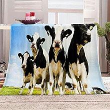 SHOMEY Manta de Franela Vacas 180x200 cm Muy Suave