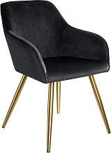 Silla aterciopelada Marilyn dorado - black/gold