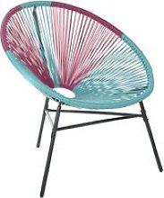Silla de balcón de ratán rosa/azul turquesa