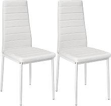 Silla de comedor, blanco, lote de 2, silla de