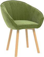 Silla de comedor de terciopelo verde claro - Verde