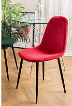 Silla de Comedor en Terciopelo Glamm Rojo & Negro
