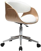 Silla de escritorio blanco y madera clara con