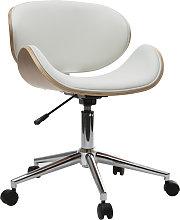 Silla de escritorio diseño PU blanco y madera