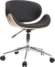 Silla de escritorio diseño PU negro y madera