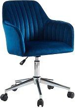 Silla de escritorio ELEANA - Terciopelo - Azul -